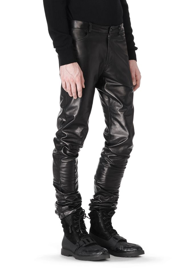 ALEXANDER WANG GATHERED LEATHER JEANS PANTS Adult 12_n_a