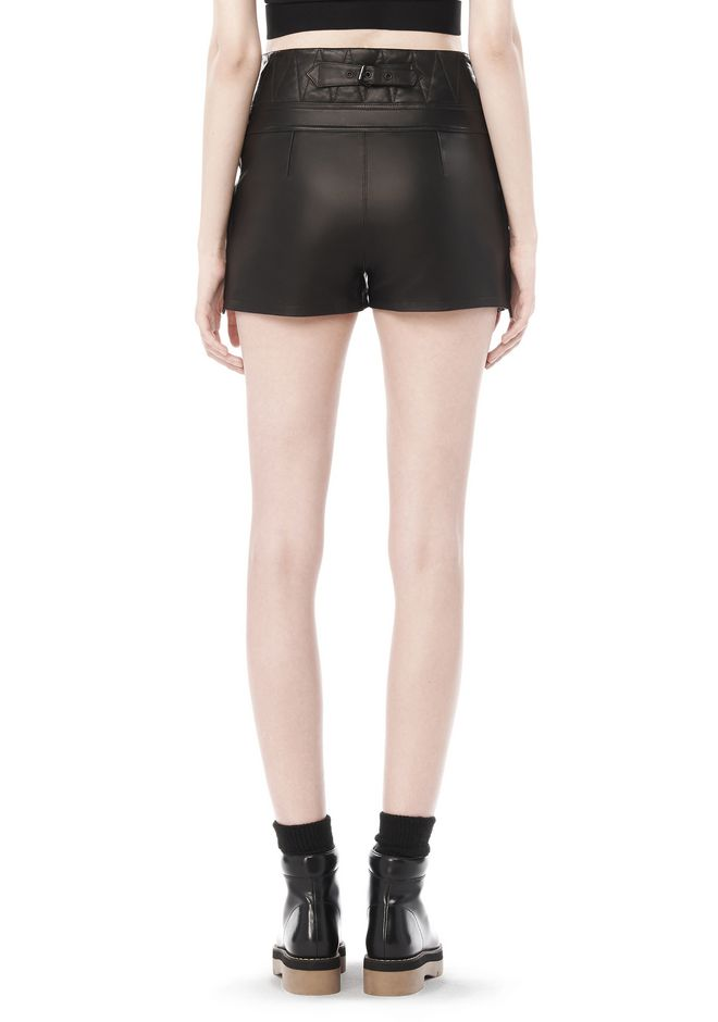 ALEXANDER WANG SPRING 2010 LACE UP LEATHER SHORTS  PANTS Adult 12_n_a