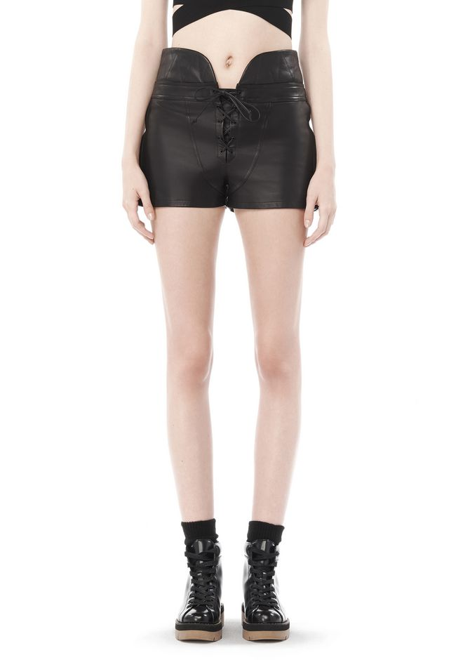 ALEXANDER WANG SPRING 2010 LACE UP LEATHER SHORTS  PANTS Adult 12_n_d