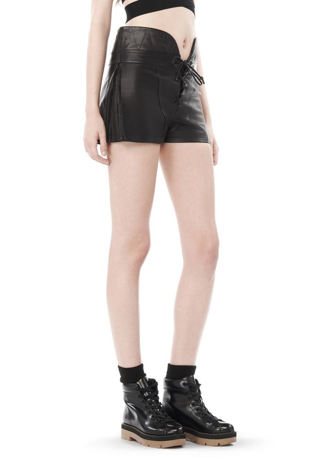 ALEXANDER WANG SPRING 2010 LACE UP LEATHER SHORTS  PANTS Adult 12_n_e