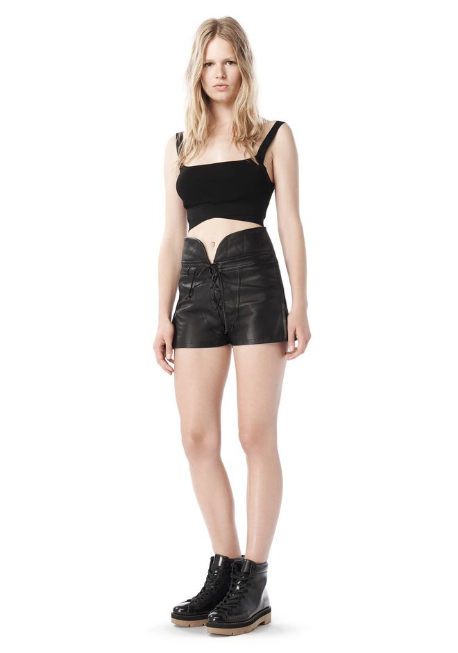 ALEXANDER WANG SPRING 2010 LACE UP LEATHER SHORTS  PANTS Adult 12_n_f