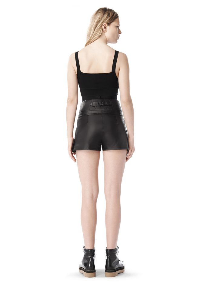 ALEXANDER WANG SPRING 2010 LACE UP LEATHER SHORTS  PANTS Adult 12_n_r