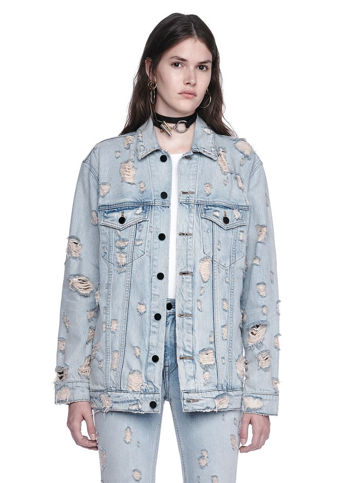Alexander Wang Daze Scratch Oversized Denim Jacket Denim