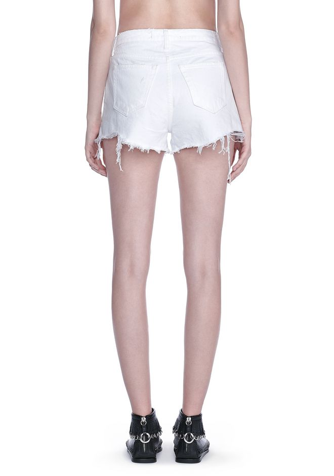 ALEXANDER WANG BITE SCRATCH CUT-OFF DENIM SHORTS DENIM Adult 12_n_d