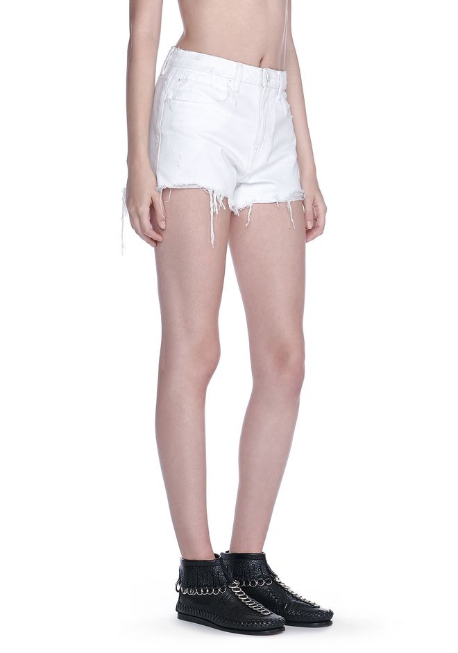 ALEXANDER WANG BITE SCRATCH CUT-OFF DENIM SHORTS DENIM Adult 12_n_e