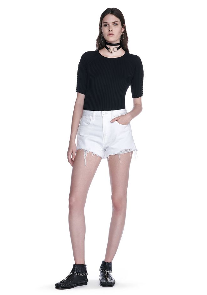 ALEXANDER WANG BITE SCRATCH CUT-OFF DENIM SHORTS DENIM Adult 12_n_f