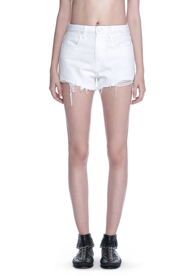 ALEXANDER WANG BITE SCRATCH CUT-OFF DENIM SHORTS DENIM Adult 12_n_r