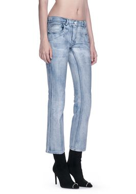 DENIM LEATHER CROPPED FLARE PANTS