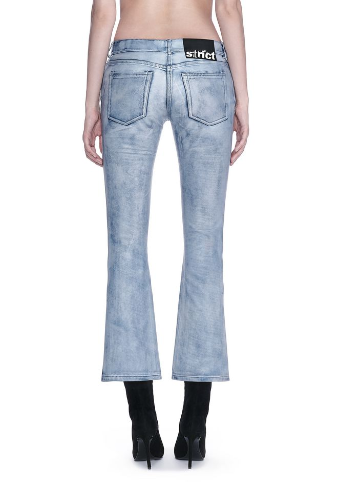 ALEXANDER WANG DENIM LEATHER CROPPED FLARE PANTS PANTS Adult 12_n_a