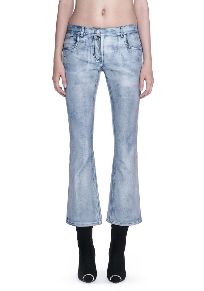 ALEXANDER WANG DENIM LEATHER CROPPED FLARE PANTS PANTS Adult 12_n_d