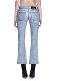 ALEXANDER WANG DENIM LEATHER CROPPED FLARE PANTS PANTS Adult 8_n_a