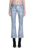 ALEXANDER WANG DENIM LEATHER CROPPED FLARE PANTS PANTS Adult 8_n_d