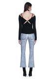 ALEXANDER WANG DENIM LEATHER CROPPED FLARE PANTS PANTS Adult 8_n_r