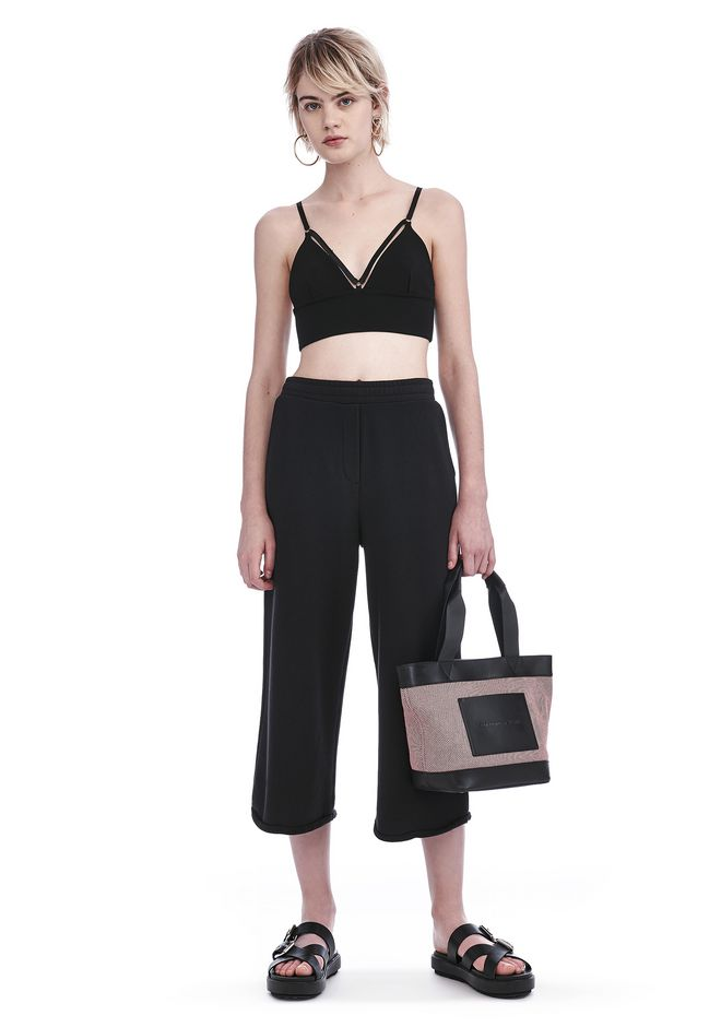 T by ALEXANDER WANG sltbbtm FRENCH TERRY CROPPED WIDE LEG SWEATPANTS