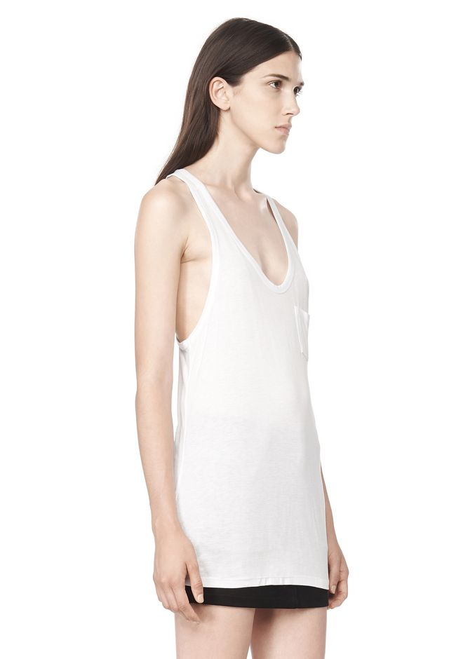 T by ALEXANDER WANG CLASSIC TANK WITH POCKET TOP Adult 12_n_a