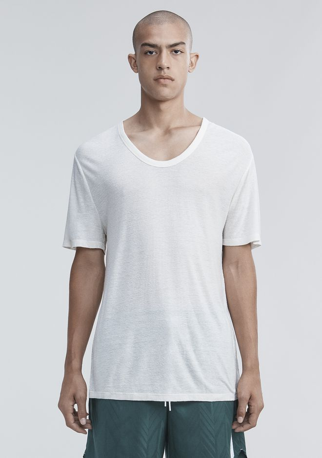 T by ALEXANDER WANG mens-new-apparel SLUB RAYON SILK LOW NECKTEE