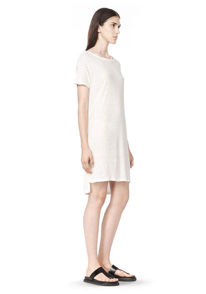 T by ALEXANDER WANG SLUB CLASSIC BOATNECK DRESS  Short Dress Adult 12_n_a
