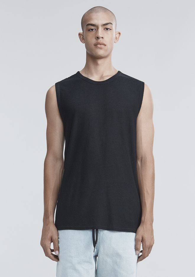 T by ALEXANDER WANG mens-new-apparel SLUB RAYON SILK MUSCLE TEE