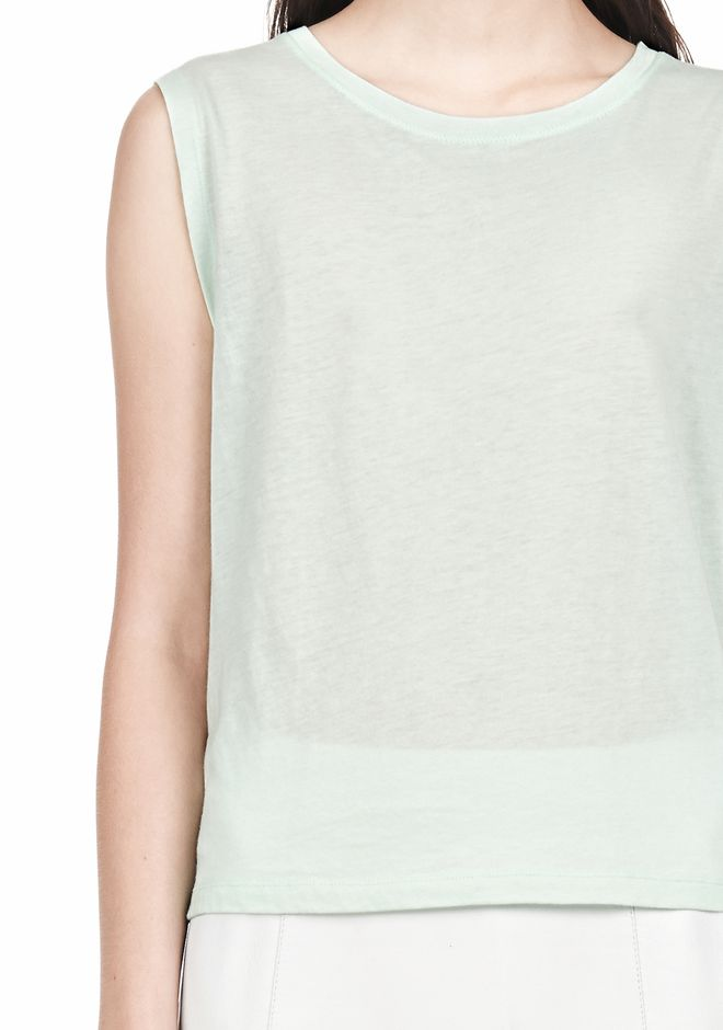 T by ALEXANDER WANG SINGLE JERSEY MUSCLE TEE TOP Adult 12_n_a