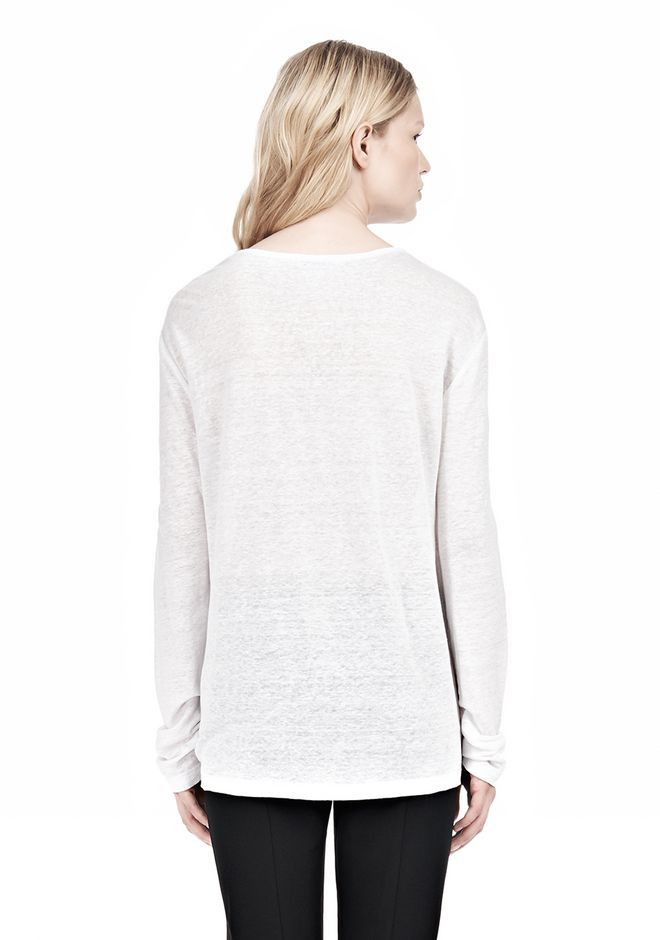 T by ALEXANDER WANG LINEN SILK LONG SLEEVE TEE TOP Adult 12_n_d