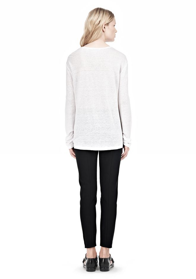 T by ALEXANDER WANG LINEN SILK LONG SLEEVE TEE TOP Adult 12_n_r