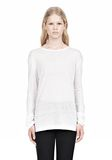 T by ALEXANDER WANG LINEN SILK LONG SLEEVE TEE TOP Adult 8_n_e