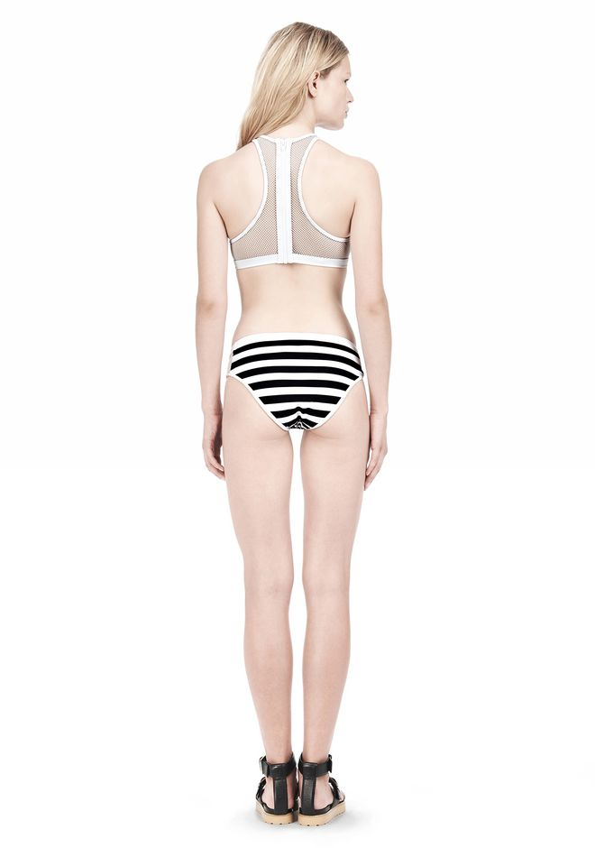 T by ALEXANDER WANG STRIPE MESH COMBO CREWNECK RACERBACK SWIM TOP Swimwear Adult 12_n_r