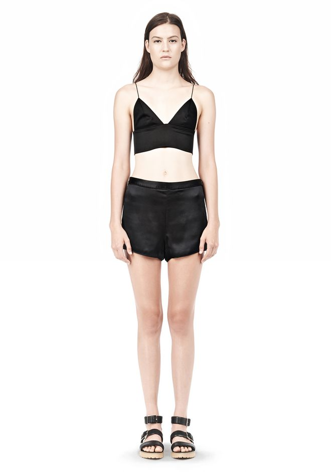T by ALEXANDER WANG SILK SATIN TRIANGLE BRALETTE TOP Adult 12_n_f