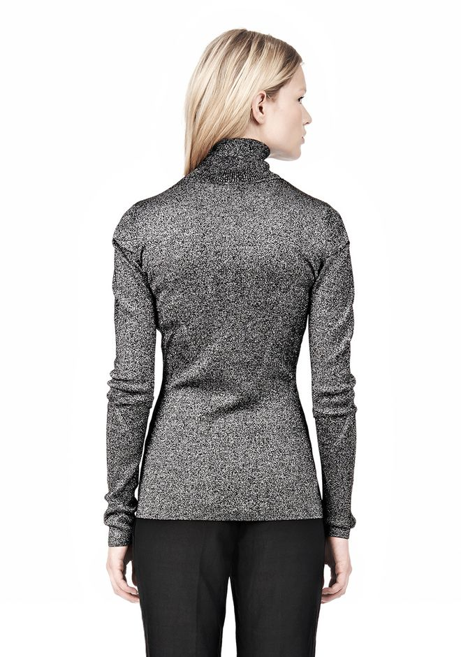 ALEXANDER WANG RIBBED LUREX TURTLENECK WITH PINCHED DARTS TOP Adult 12_n_d