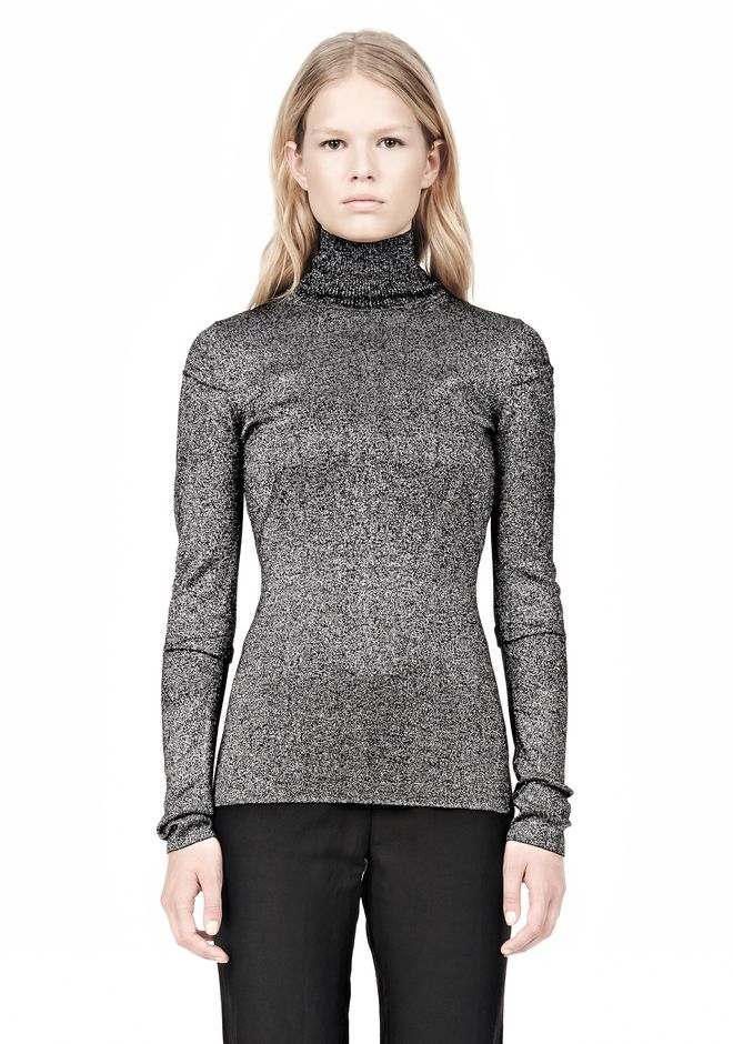 ALEXANDER WANG RIBBED LUREX TURTLENECK WITH PINCHED DARTS TOP Adult 12_n_e
