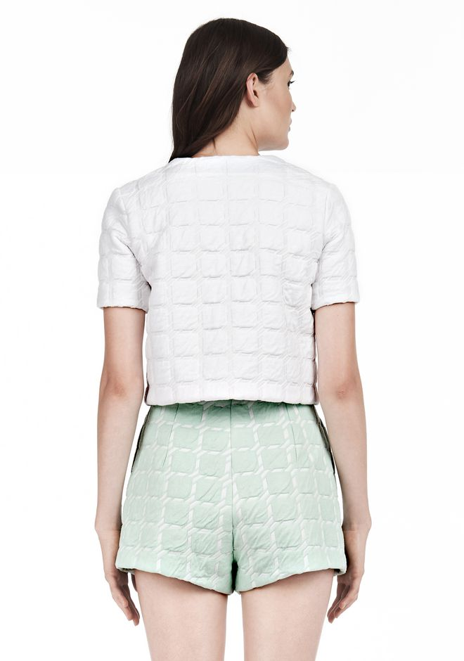 T by ALEXANDER WANG GRID JACQUARD BONDED NEOPRENE SHORT SLEEVE TOP Short sleeve t-shirt Adult 12_n_d