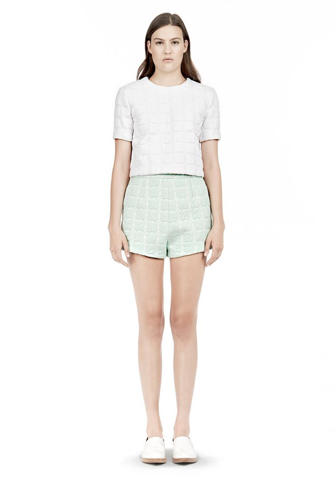 T by ALEXANDER WANG GRID JACQUARD BONDED NEOPRENE SHORT SLEEVE TOP Short sleeve t-shirt Adult 12_n_f
