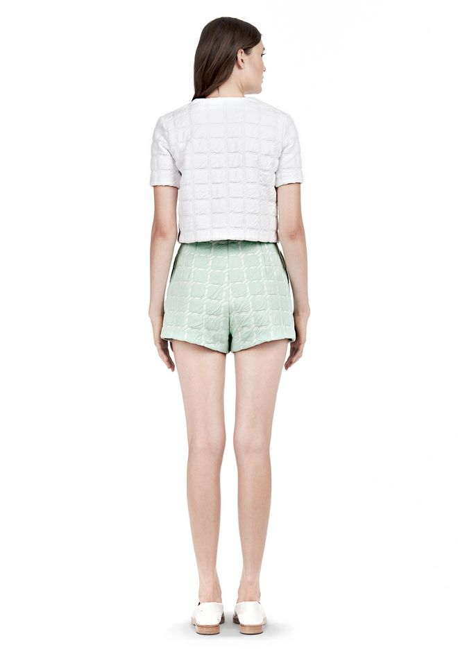 T by ALEXANDER WANG GRID JACQUARD BONDED NEOPRENE SHORT SLEEVE TOP Short sleeve t-shirt Adult 12_n_r