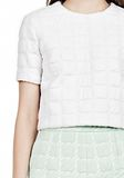 T by ALEXANDER WANG GRID JACQUARD BONDED NEOPRENE SHORT SLEEVE TOP Short sleeve t-shirt Adult 8_n_a