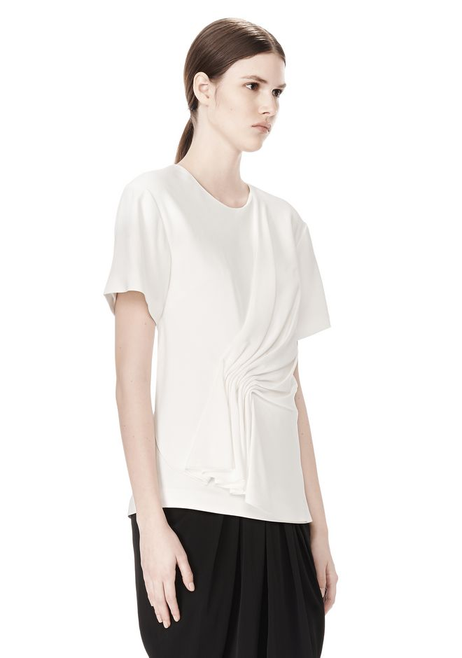 ALEXANDER WANG EXCLUSIVE GATHERED CASCADE TEE TOP Adult 12_n_a