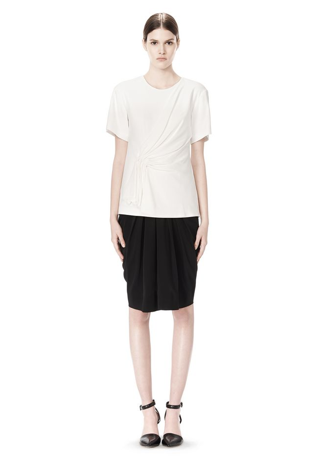 ALEXANDER WANG EXCLUSIVE GATHERED CASCADE TEE TOP Adult 12_n_f