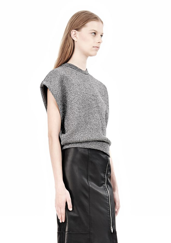 ALEXANDER WANG CROPPED LUREX MUSCLE PULLOVER Sleeveless jumper Adult 12_n_a