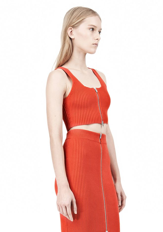 T by ALEXANDER WANG COTTON RIB KNIT TWO-WAY ZIP CROPPED TANK TOP Adult 12_n_a