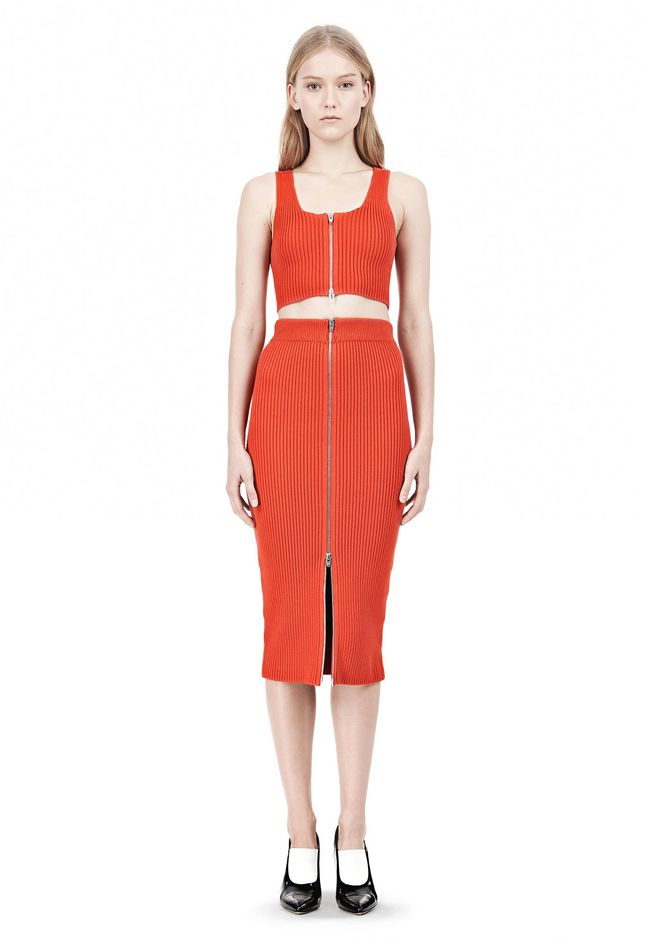 T by ALEXANDER WANG COTTON RIB KNIT TWO-WAY ZIP CROPPED TANK TOP Adult 12_n_f