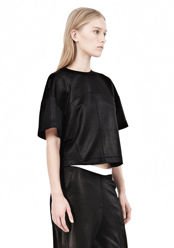 T by ALEXANDER WANG SHINY DOUBLE KNIT BOXY SHORT SLEEVE TEE Short sleeve t-shirt Adult 12_n_a