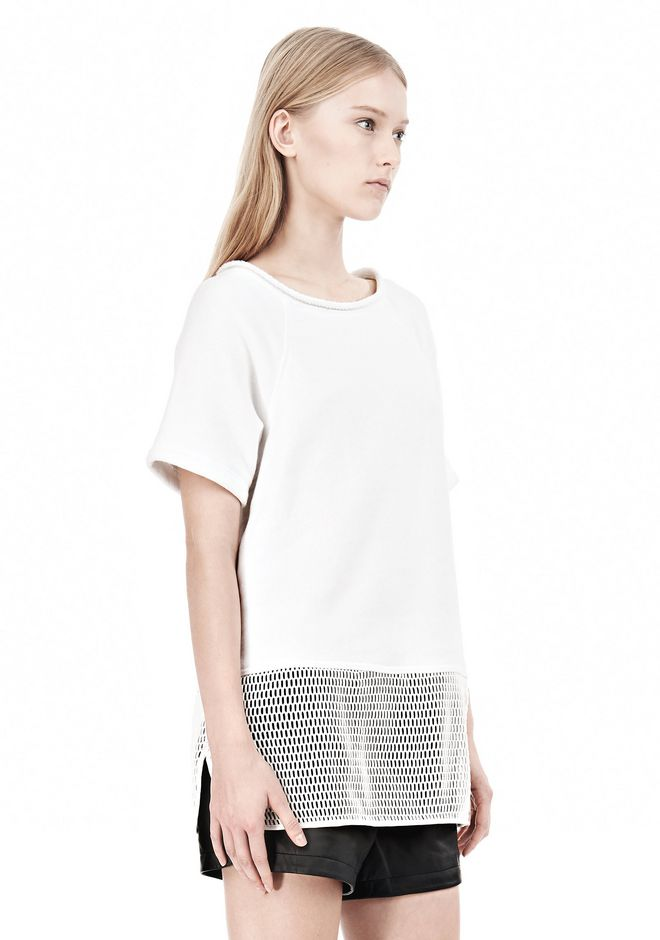T by ALEXANDER WANG FRENCH TERRY SHORT SLEEVE TEE WITH MESH SWEATER Adult 12_n_a