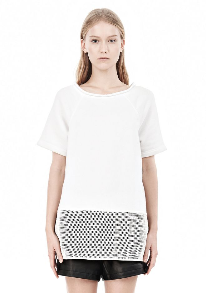 T by ALEXANDER WANG FRENCH TERRY SHORT SLEEVE TEE WITH MESH SWEATER Adult 12_n_e