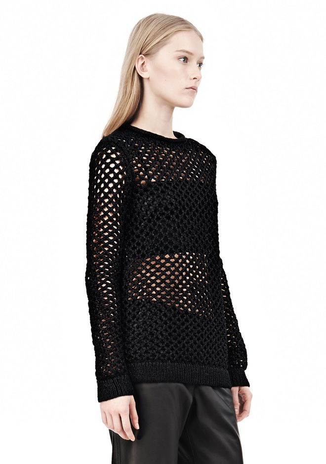 T by ALEXANDER WANG NYLON TAPE YARN OPEN KNIT CREWNECK PULLOVER Crewneck Adult 12_n_a