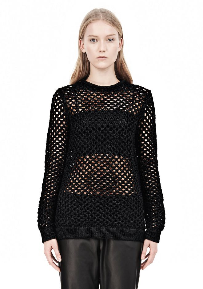 T by ALEXANDER WANG NYLON TAPE YARN OPEN KNIT CREWNECK PULLOVER Crewneck Adult 12_n_e
