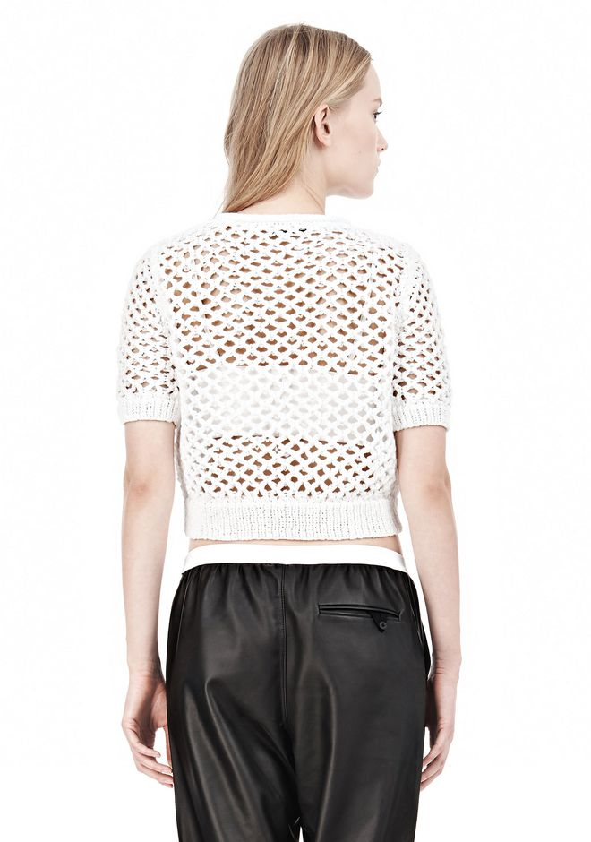 T by ALEXANDER WANG NYLON TAPE OPEN KNIT SHORT SLEEVE PULLOVER Crewneck Adult 12_n_d
