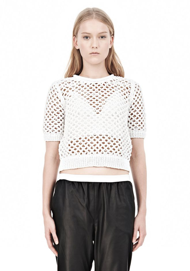 T by ALEXANDER WANG NYLON TAPE OPEN KNIT SHORT SLEEVE PULLOVER Crewneck Adult 12_n_e