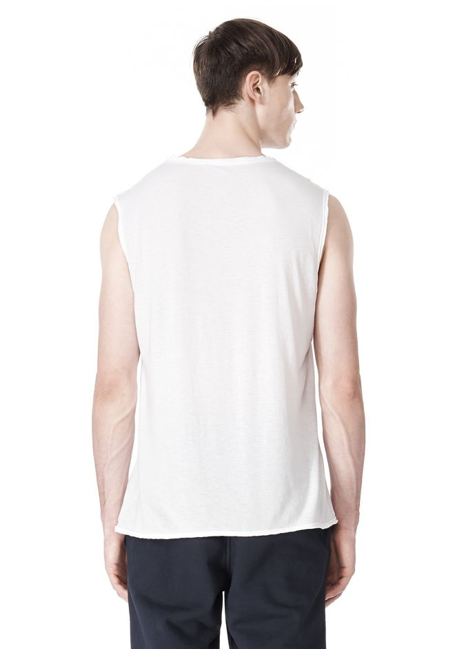 T by ALEXANDER WANG PIGMENT DYED COTTON JERSEY SILK NECK TRIM MUSCLE T TOP Adult 12_n_d