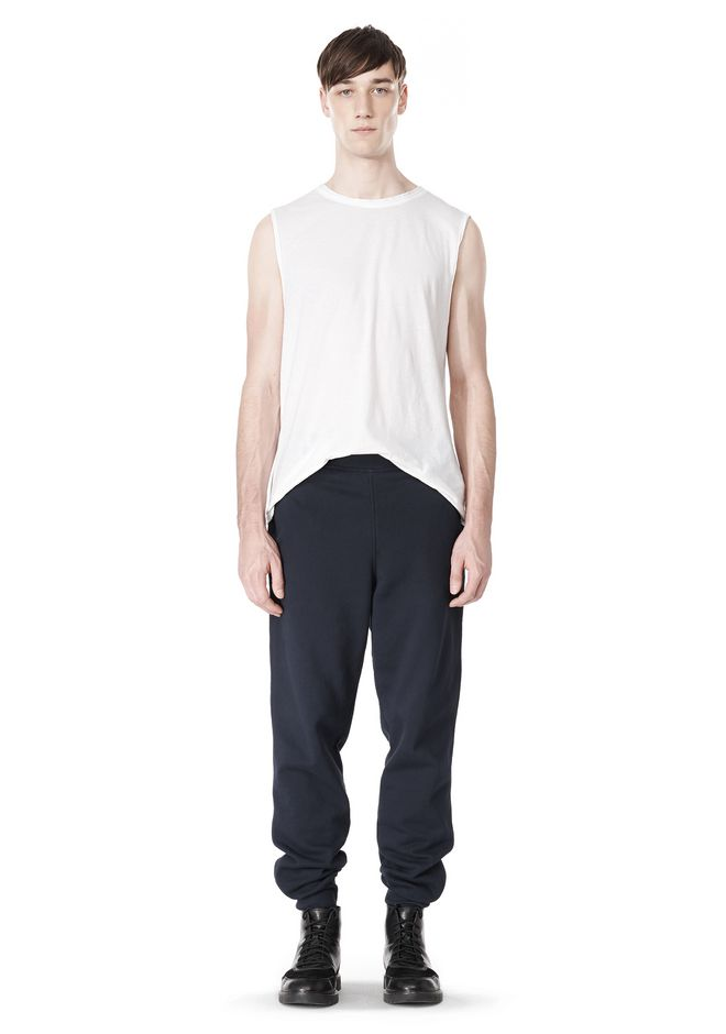 T by ALEXANDER WANG PIGMENT DYED COTTON JERSEY SILK NECK TRIM MUSCLE T TOP Adult 12_n_f