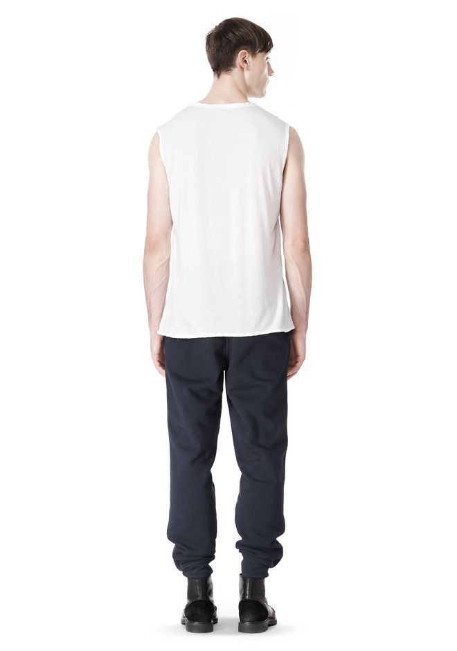 T by ALEXANDER WANG PIGMENT DYED COTTON JERSEY SILK NECK TRIM MUSCLE T TOP Adult 12_n_r