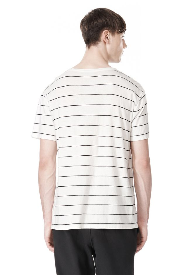 T by ALEXANDER WANG LINEN STRIPE SHORT SLEEVE TEE TOP Adult 12_n_d